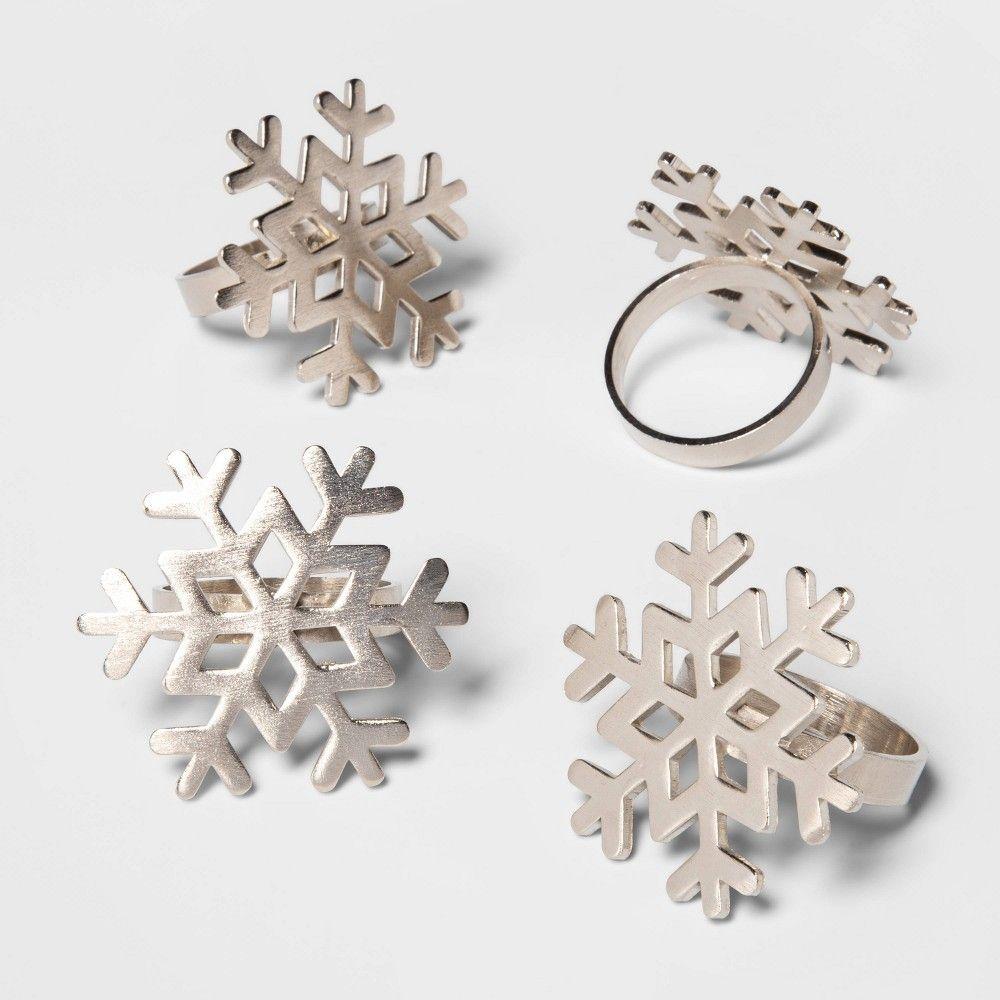 4pk Snowflake Napkin Rings Silver Threshold In 2020 Silver Napkin Rings Napkin Rings Silver Rings
