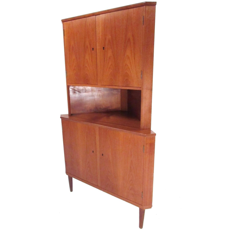 Mid Century Modern Danish Teak Corner Cabinet Teak Storage