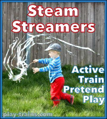 Steam Streamers for Active Train Pretend Play @ Play Trains!  Ou simplesmente prenda um monte de fio de papel