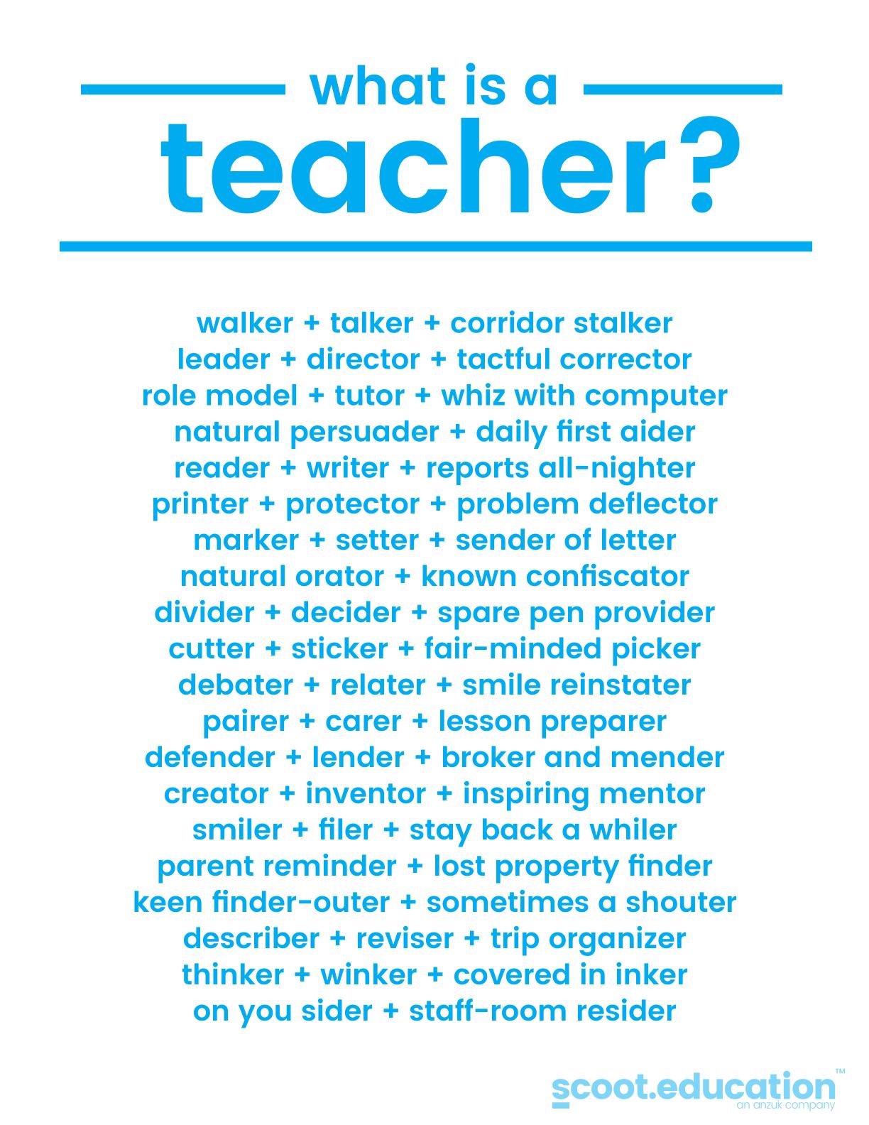 What Is A Teacher Description Define Teacher Teacherpoem