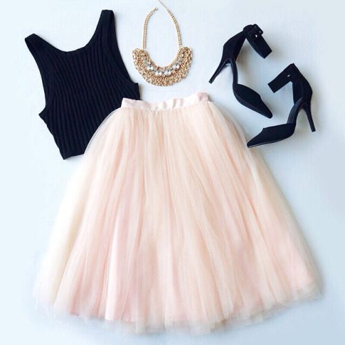 pink black tulle skirt necklace outfit