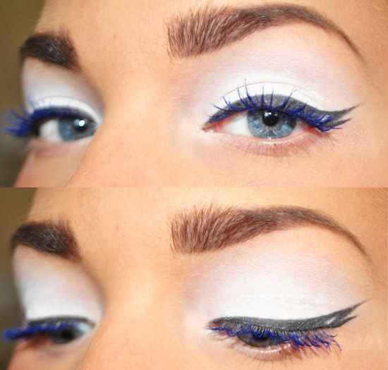 White Eyeshadow With Black Eyeliner And Blue Mascara Love This