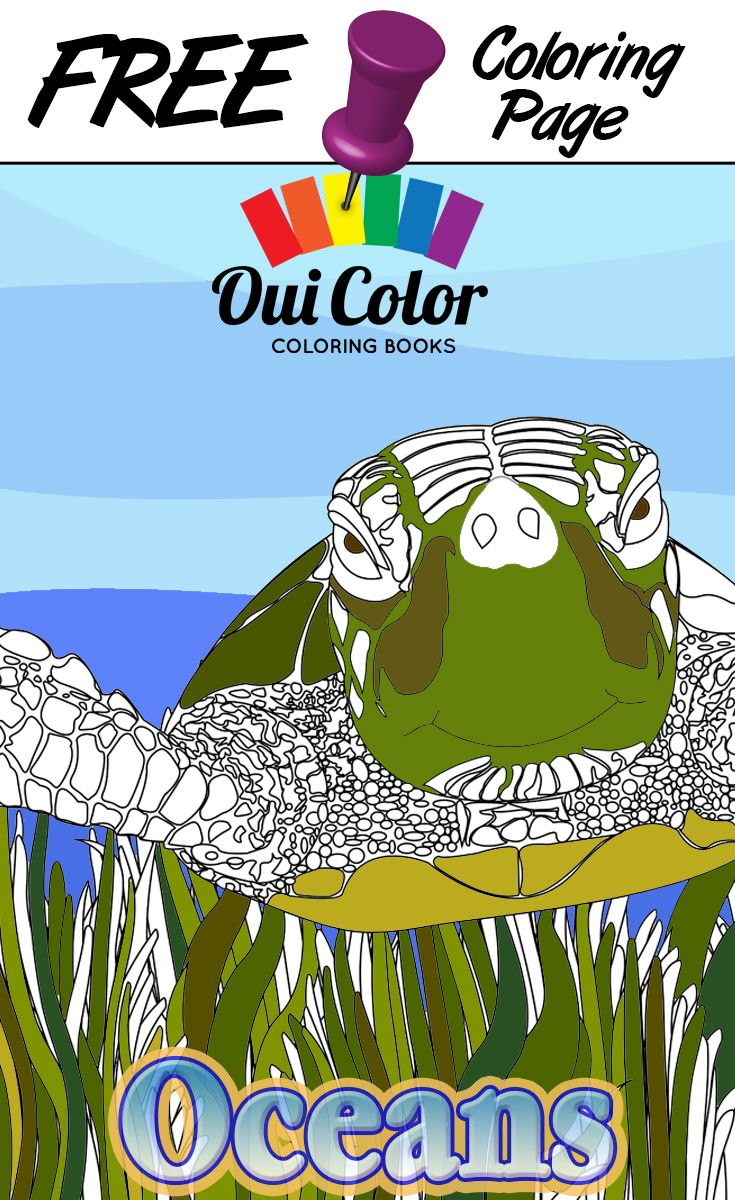 Free #Oceans #ColoringPage from Oui Color Coloring Books #SeaTurtle ...