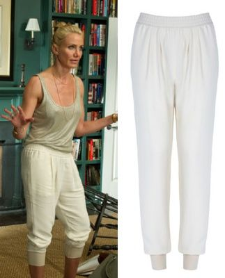 cameron diaz other woman movie carly white cream beige track harem jogging pants  trousers OTHER WOMAN