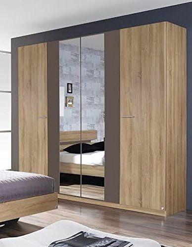 Best Almada Rauch 4 Door 2 Mirror Hinged Wardrobe In A Sonoma 640 x 480