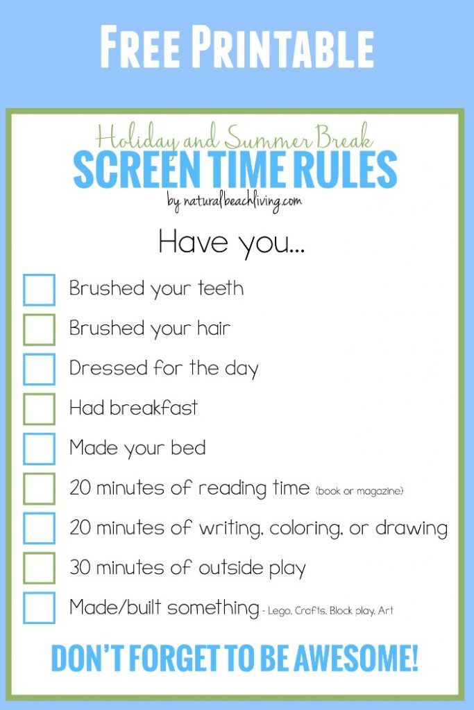 holiday and summer break screen time rules for kids - Printable Fun Activities