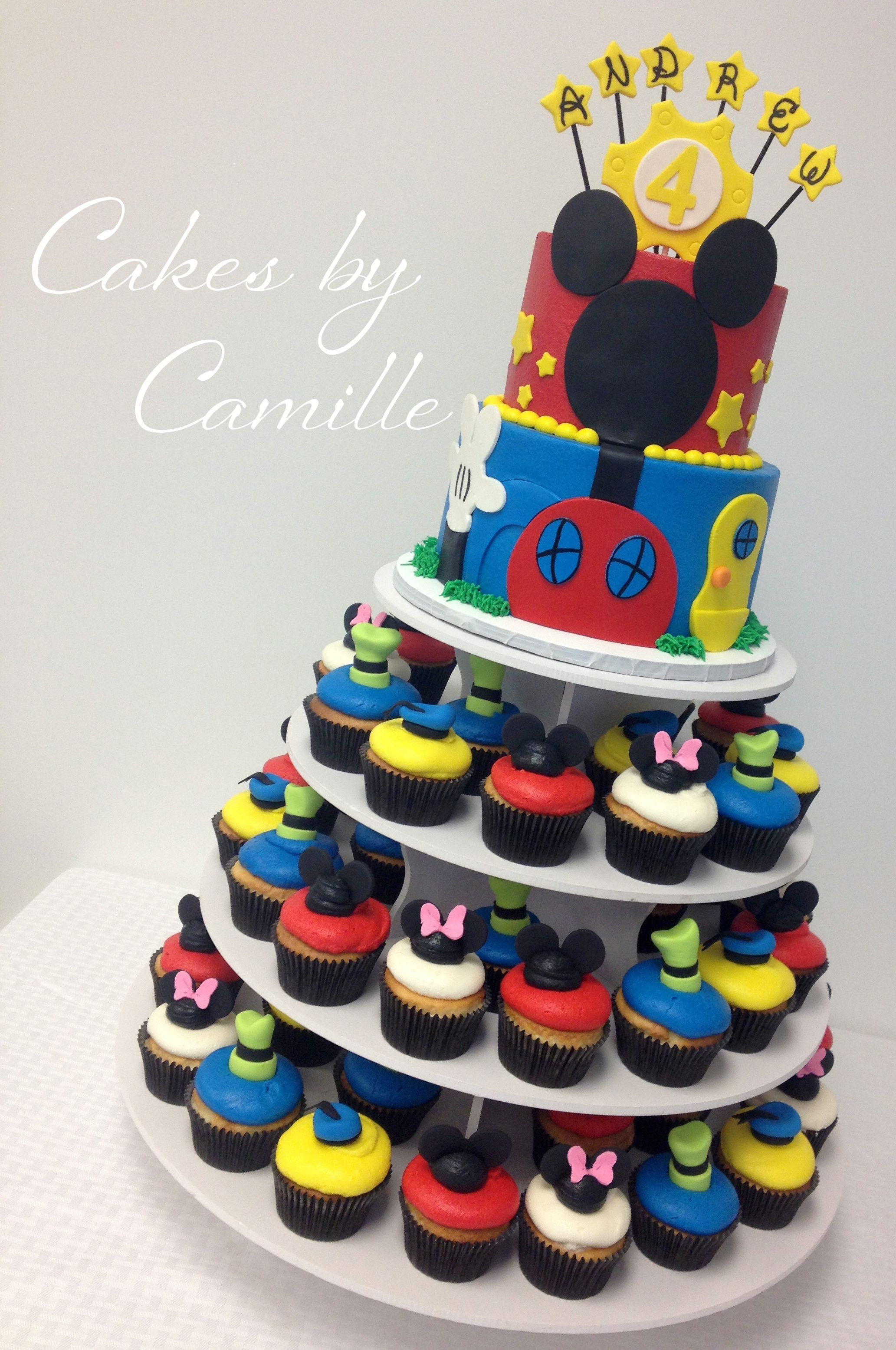 Miraculous Mickey Mouse Clubhouse Birthday Cupcake Tower Cake Mickey Mouse Funny Birthday Cards Online Elaedamsfinfo