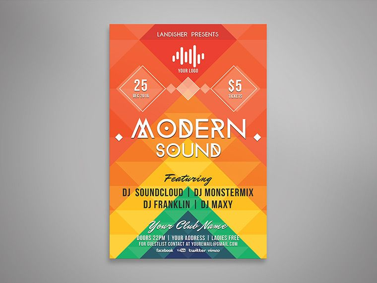 Modern Colorful Music Event Flyer PSD Template Download