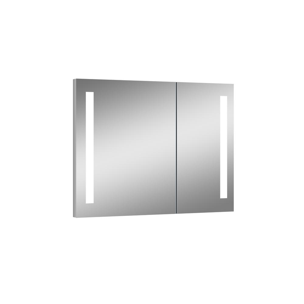 Ltl Home Products Royale 31 5 In X 27 625 In Lighted Impressions Frameless Recessed Led Mirror Medicine Cabinet In Aluminum Li5164 Medicine Cabinet Mirror