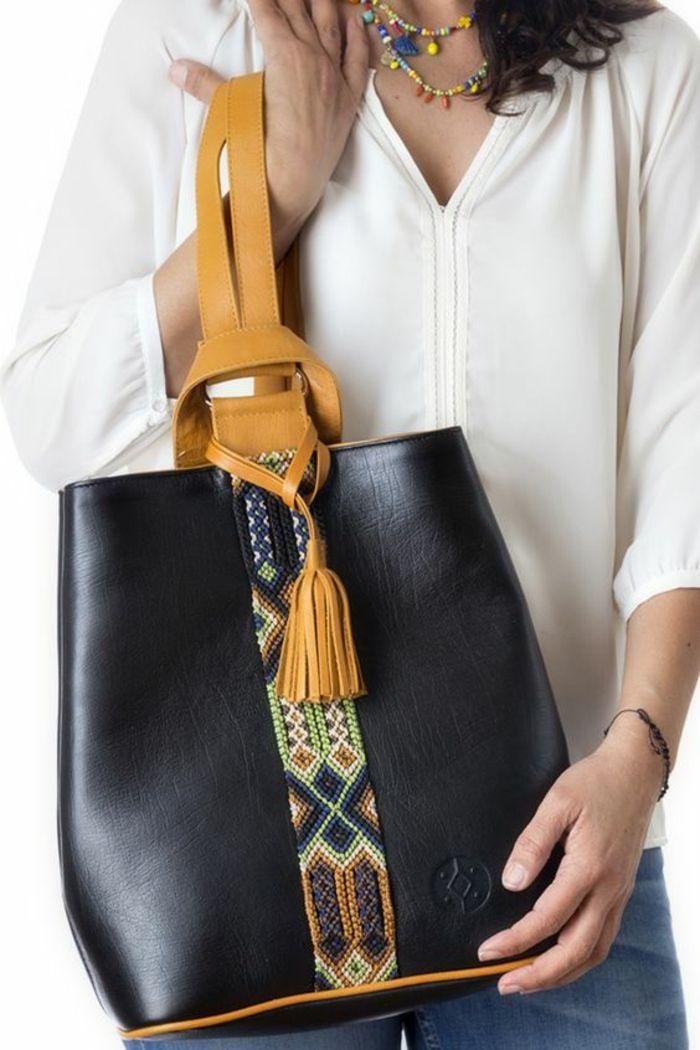 1b5ca48809 sac à dos femme tendance en noir avec une bande décorative style bracelet  brésilien et bandes épaules en couleur moutarde
