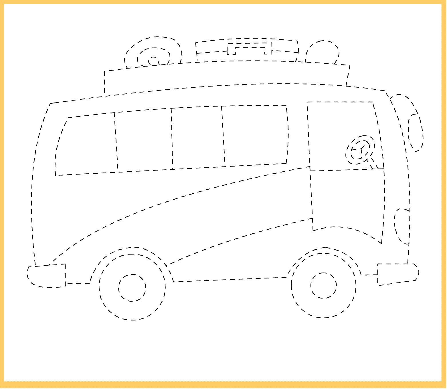Free Tracing Line Printable Bus Picture