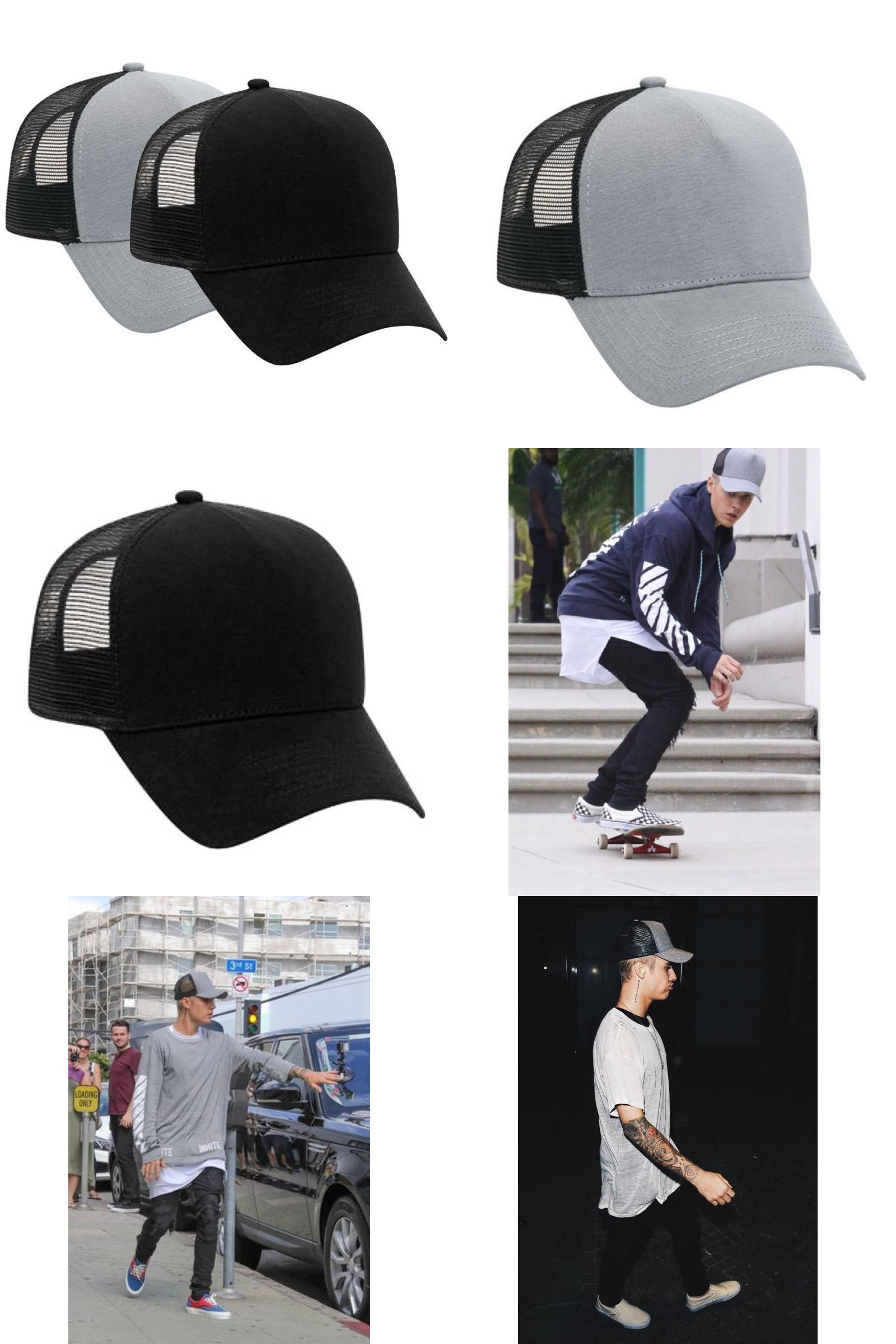 0e6f6bda47e [Visit to Buy] JUSTIN BIEBER TRUCKER HAT Perse Alternative BLACK GREY  similar look flannel GRAY Casual Mesh Baseball Caps #Advertisement