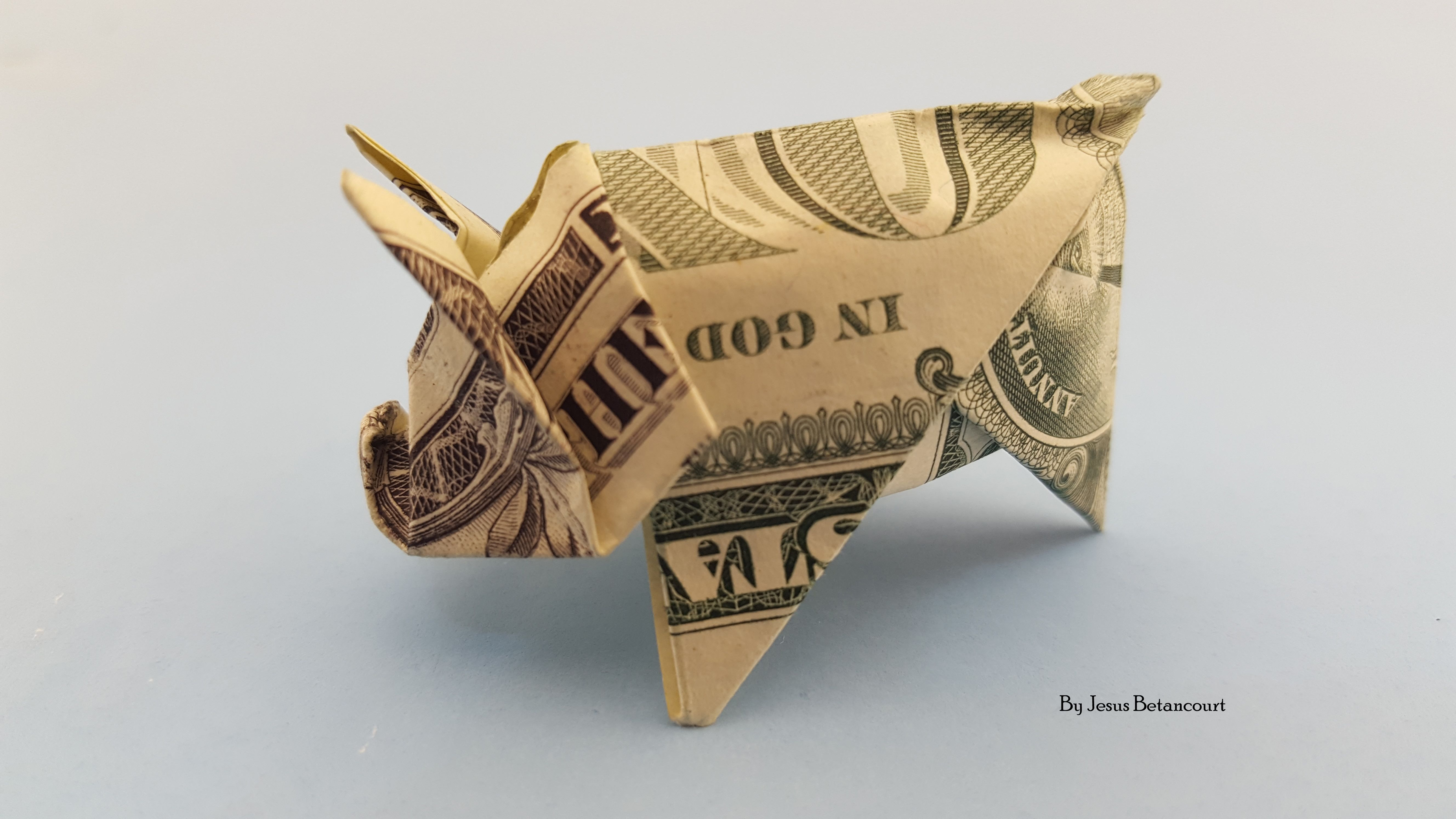 Origami Pig With A Dollar | ORIGAMI TUTORIAL, LETS MAKE IT - photo#21