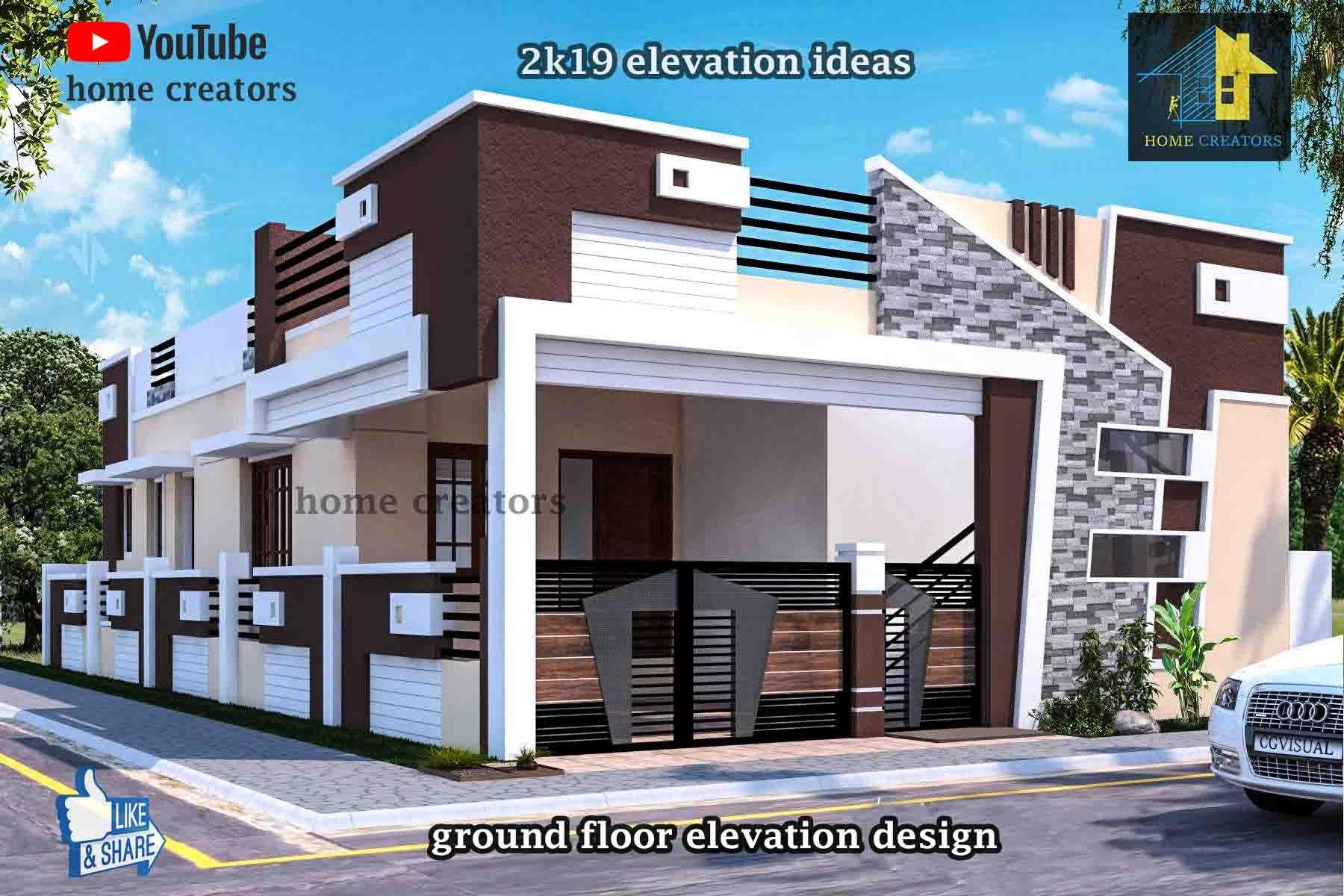 Ground Floor Elevation | Small House Elevation Design, Single Floor House Design, Village House Design