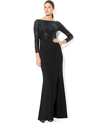 324aabf1 Lauren Ralph Lauren Dress, Long-Sleeve Sequin Gown - Dresses - Women -  Macy's