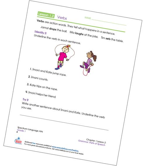 Identifying Verbs Grade 1 Free Printable Verb Worksheets, Worksheets For  Grade 3, Worksheets