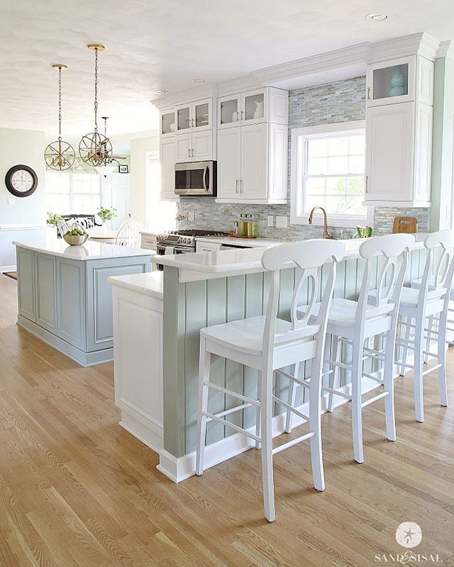 white uppers and colored island | kitchen ideas | pinterest | home