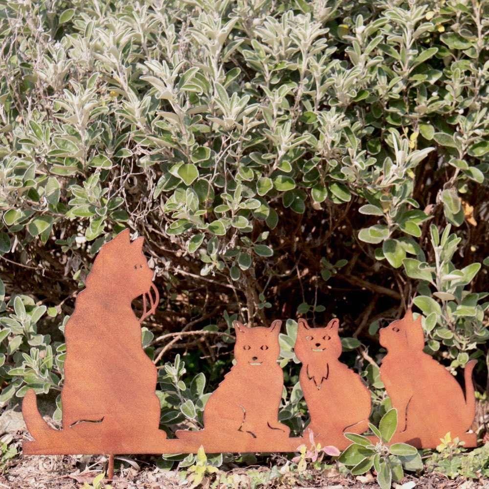 Silhouette famille chat en fer patine rouille | GARDEN DECO JARDIN ...