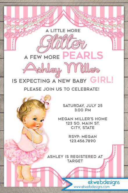 photo relating to Baby Shower Printable Invitations named Glitter and Pearls Little one Shower Invitation - Traditional Kid