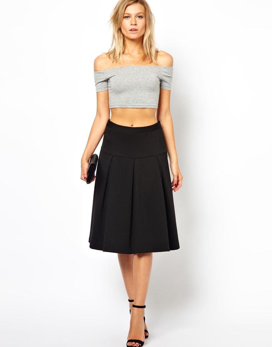 2fd5abebc ASOS Pleated Midi Skirt with Drop Waist | My Style | Pinterest ...