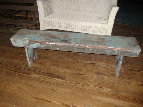 Primitive Urban Rustic Dutch Blue Distress Painted Bench Vintage Wood Plank Ebay Painted Benches Urban Rustic Vintage Wood