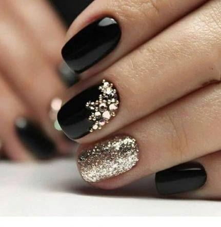 50 trendy nails gel new years black nails  gold nails