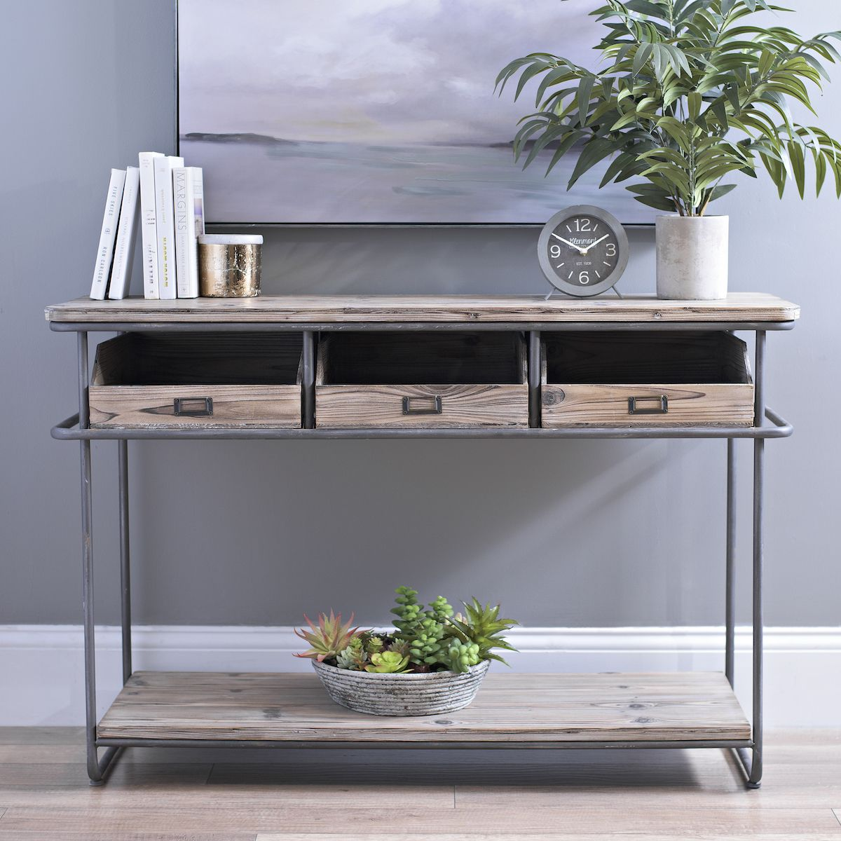 rustic industrial 3drawer console table with images