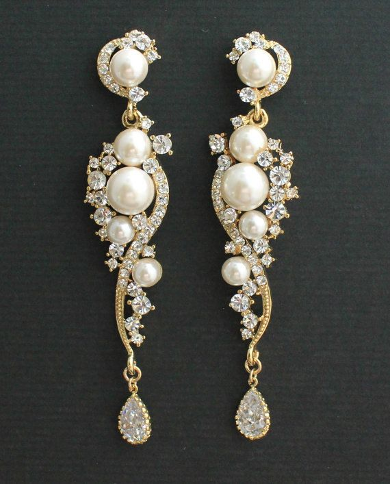 Crystal And Pearl Bridal EarringsGold Chandelier Wedding Earrings Rhinestone Gold