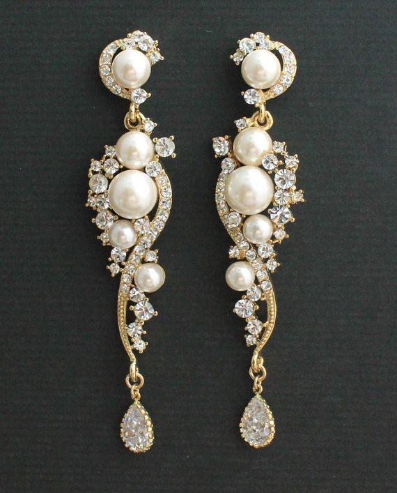 Rose Gold Crystal Pearl Bridal Earrings Natural Pearl Etsy Pearl Earrings Wedding Gold Bridal Earrings Bridal Earrings Pearl