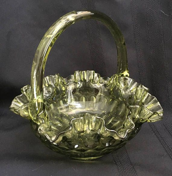 Fenton Vintage Fenton Art Glass Crimped Basket Colonal Green Thumbprint Pottery & Glass