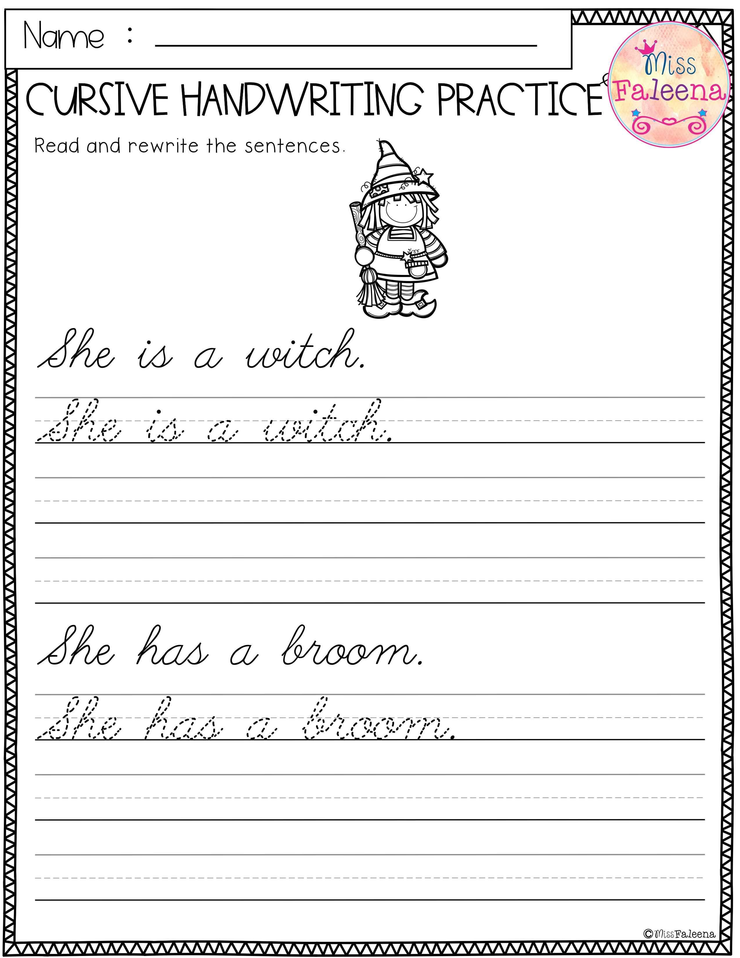 Halloween Cursive Handwriting Practice   Cursive handwriting practice [ 3300 x 2550 Pixel ]