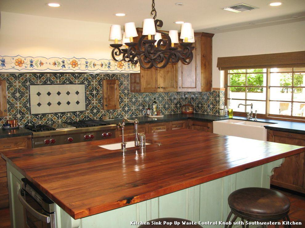 Kitchen Sink Pop Up Waste Control Knob with Southwestern Kitchen ...