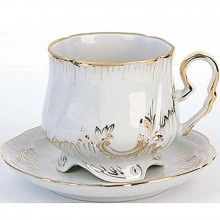 Teacup and Saucer from the Gold Leaf Tea Set