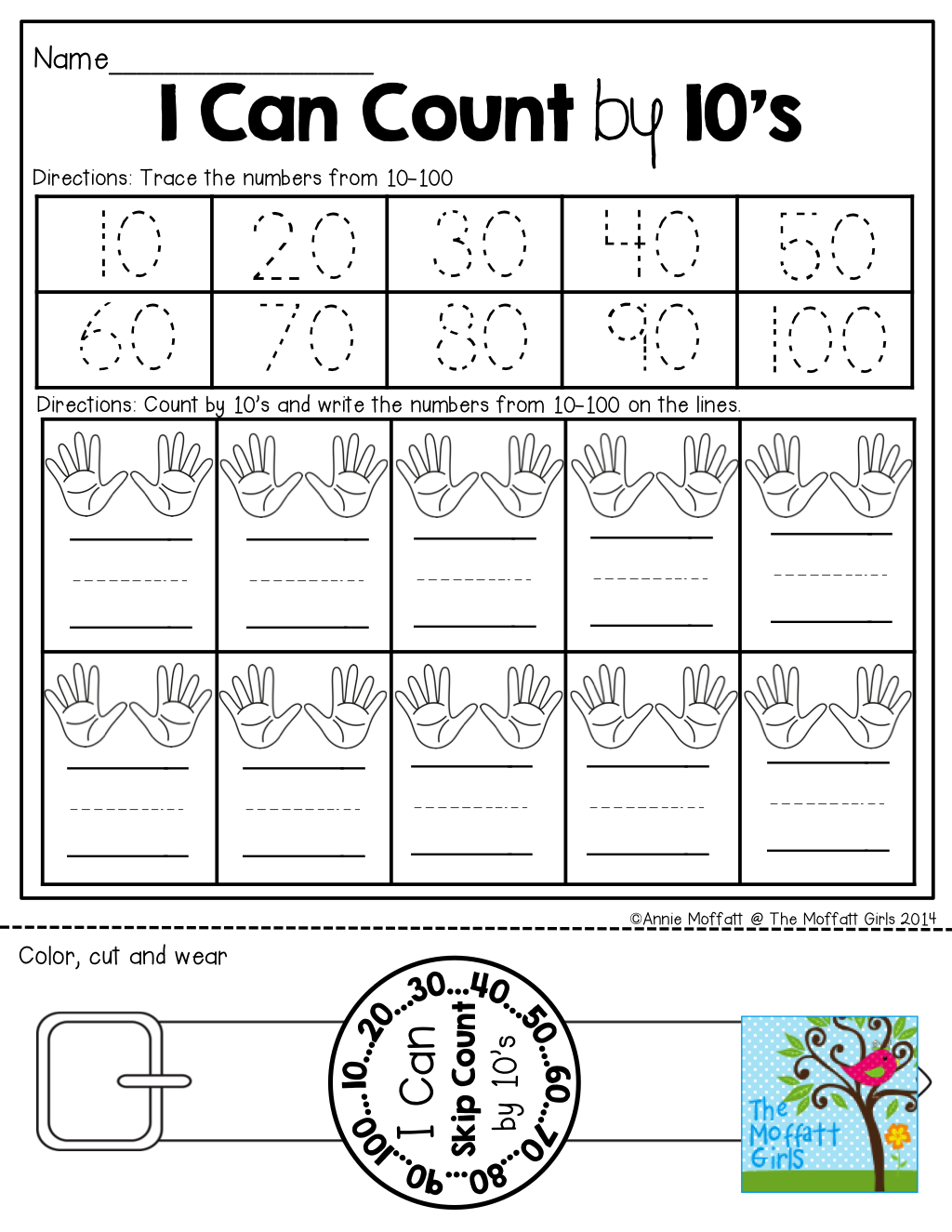I Can Count by 10's! LOVE the WEARABLE watch at the bottom!   Homeschool  math [ 1325 x 1024 Pixel ]