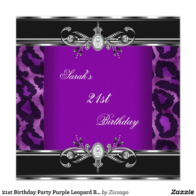 Purple And Black Party Backgrounds Th Birthday Invitations - 21st birthday invitation card background