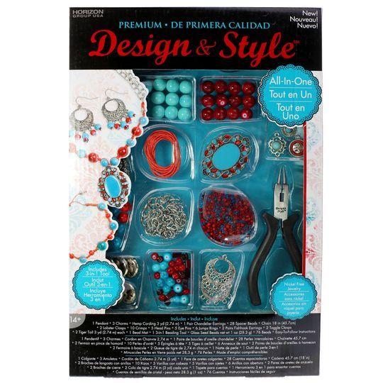 Design & Style Premium Jewelry Kit, Turquoise/Red