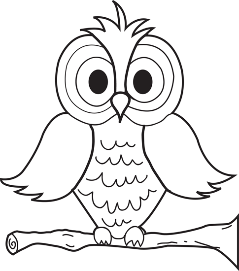 Printable Cartoon Owl Coloring Page For Kids