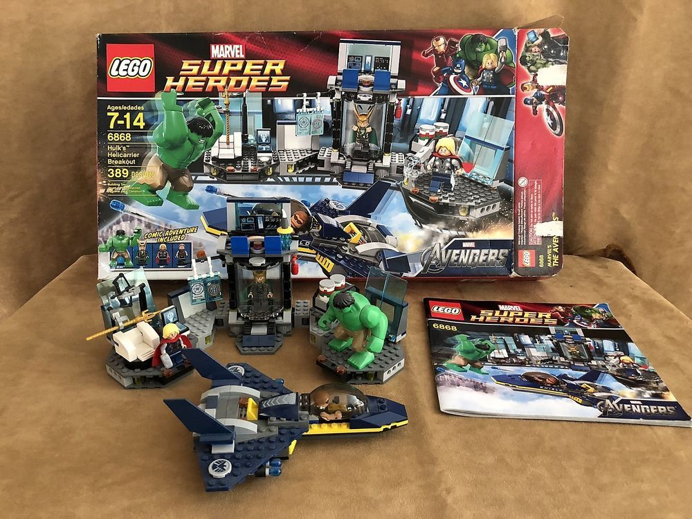 6868 Lego Complete Super Heroes Hulks Helicarrier Breakout Box