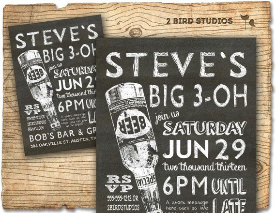 30th birthday invitation - 30th 40th 50th 60th Male birthday party invitations - CHALKBOARD DIY prin