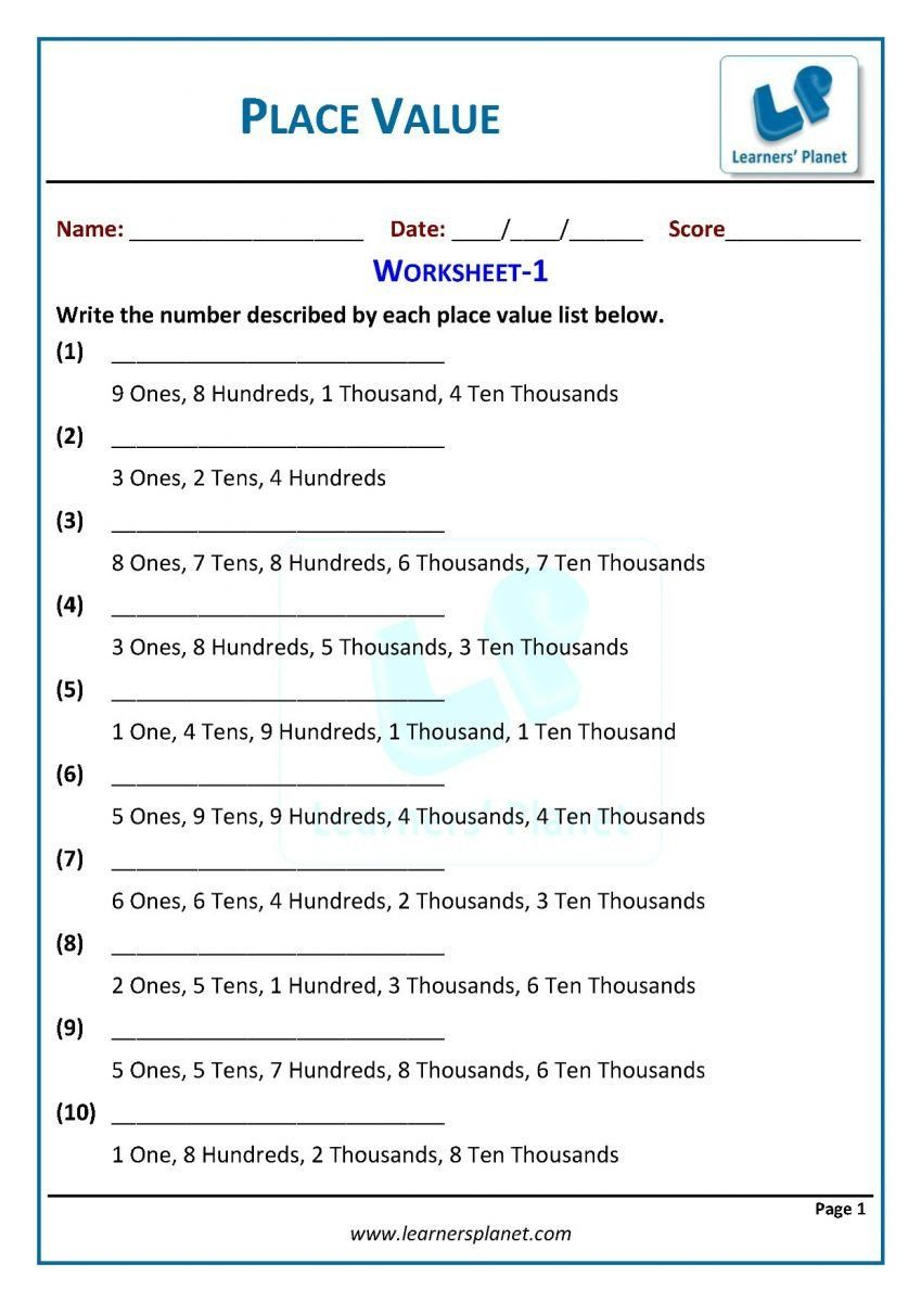 Economics Worksheets For 3rd Grade Work Problems Free Printable Home Economics Worksheets Place In 2020 Place Value Worksheets Math Place Value Place Values