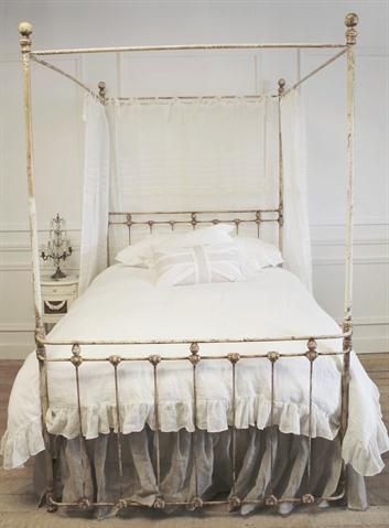 Queen Iron Canopy Bed In Cream Patina From Full Bloom Cottage
