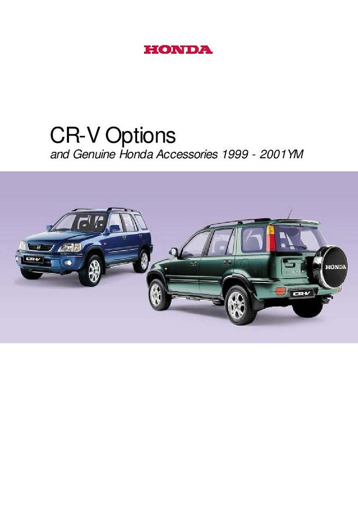 Honda cr v mk1 uk accessory brochure 2000 cars for Honda cr v brochure