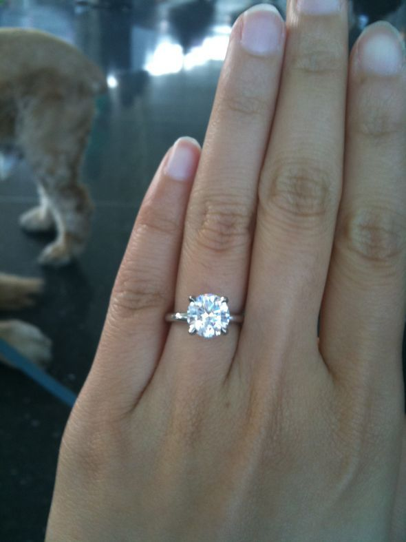 2 carat round solitaire diamond with simple platinum setting inspiration