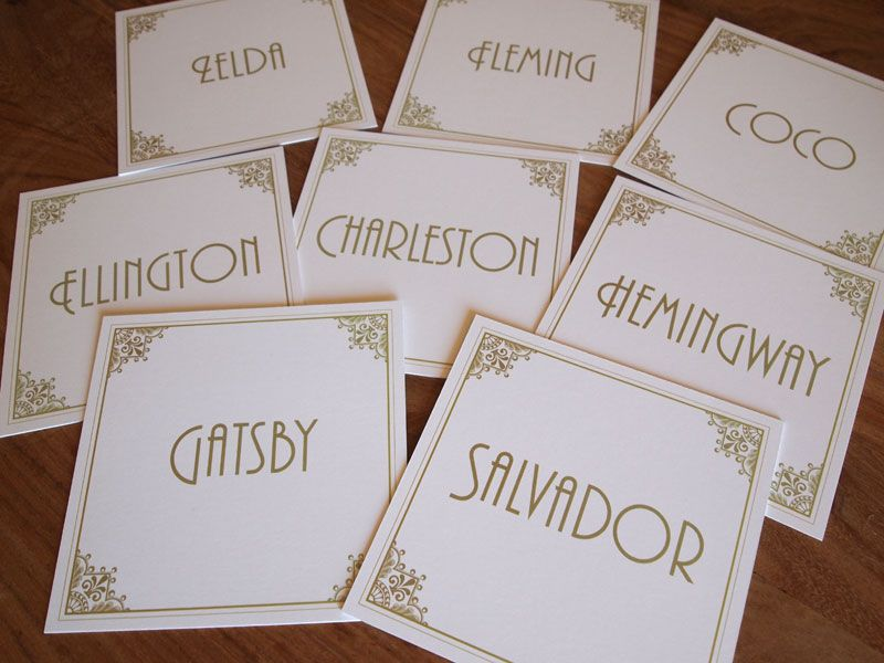 Art Deco Table Name Cards Table Numbers Table Names