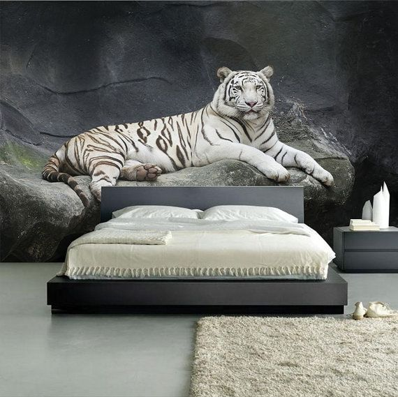 Stunning White Tiger Mural Self Adhesive Wall Covering Peel And Stick Repositionable Wallpaper White Tiger Nightmare Before Christmas Bedding Mural White tiger living room decor