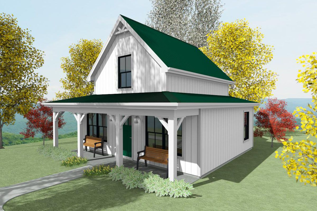 Plan 430806SNG: Tiny Two Bed Cottage with Cozy Front Porch ...