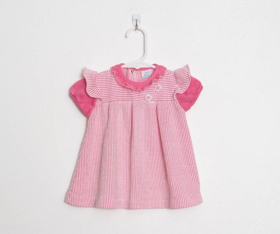 10fbd368e47 Vintage Girl s Carter s Dress   Pink and White Striped w  Daisy Appliqué   Baby  Girl 70s Dress   Siz
