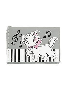"<p>Faux leather tri-fold wallet from Disney & Loungefly with a Marie playing <em>""</em><span class=""st"">Scales and Arpeggios</span><em><span class=""st"">""</span></em> piano scene design from <i>The Aristocats</i>. Marie applique is padded for a puffy appearance & feel. Exterior features zip pocket. Interior features billfild, card slots and clear ID display. Snap-button closure.</p>  <ul> 	<li>5"" x 3 3/4""</li> 	<li>Simulated leather; polyurethane foam</li> 	<li>Imp..."