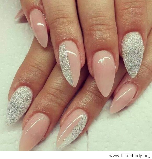 Stiletto Nail Design Light Pink And White Nail Art That Nailed It