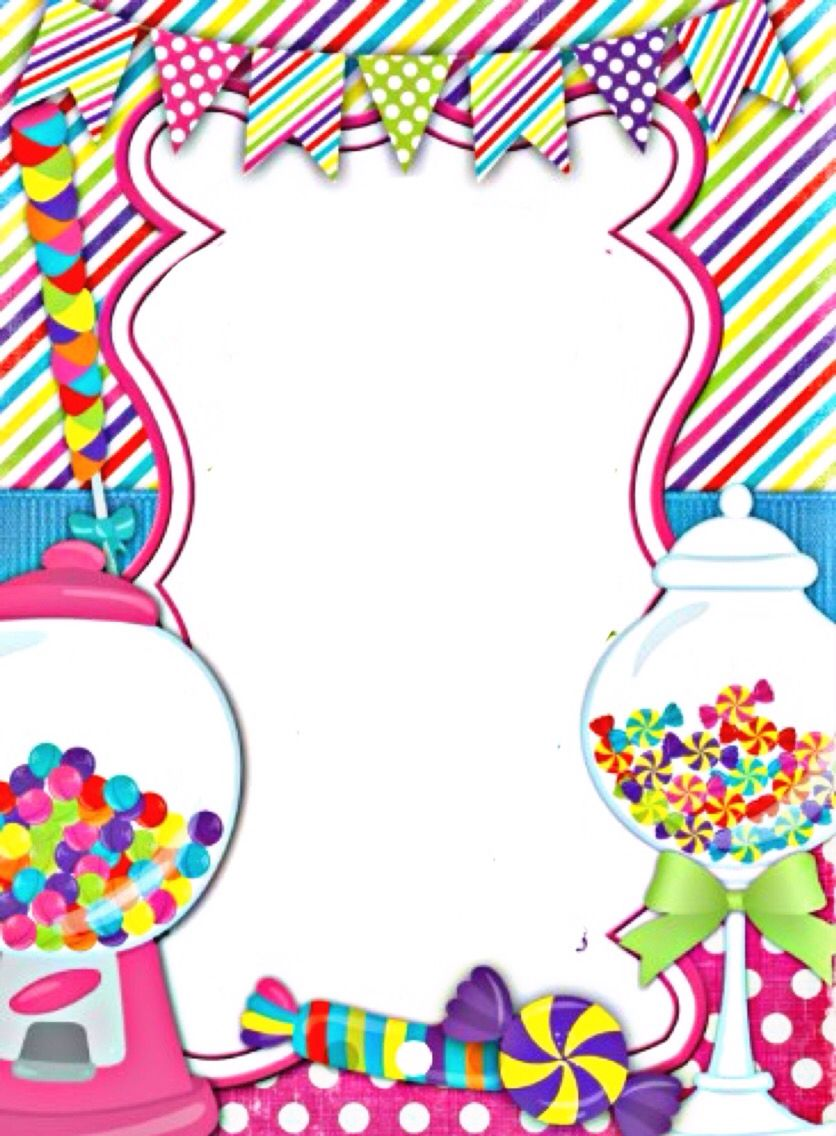 Sweet Shop Border Candyland Invitations Candy Land Birthday Party Candyland Birthday